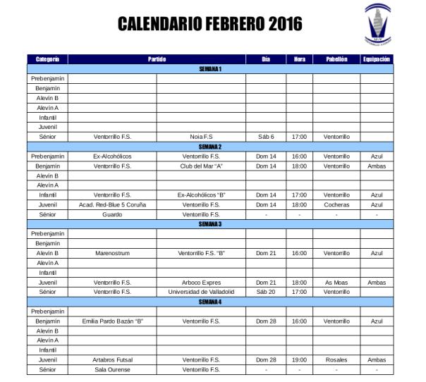 Partidos del mes de febrero