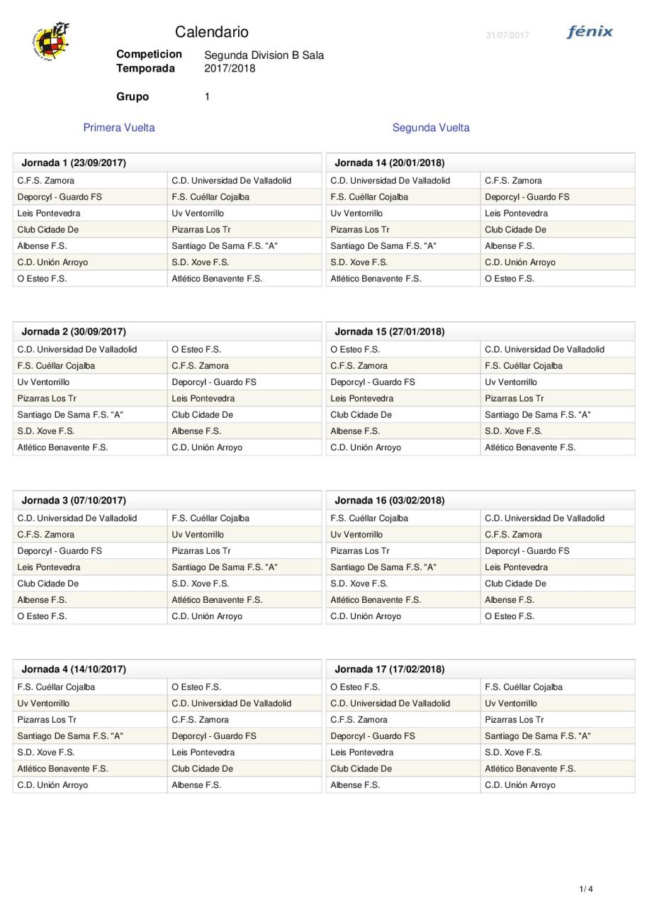 Calendario Segunda B.Calendario Segunda Division B Grupo 1 Ventorrillo Fs